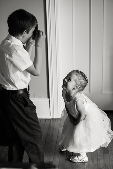 Ring bearer and flower girl at Grant-Humphreys Mansion by Denver wedding photojournalist
