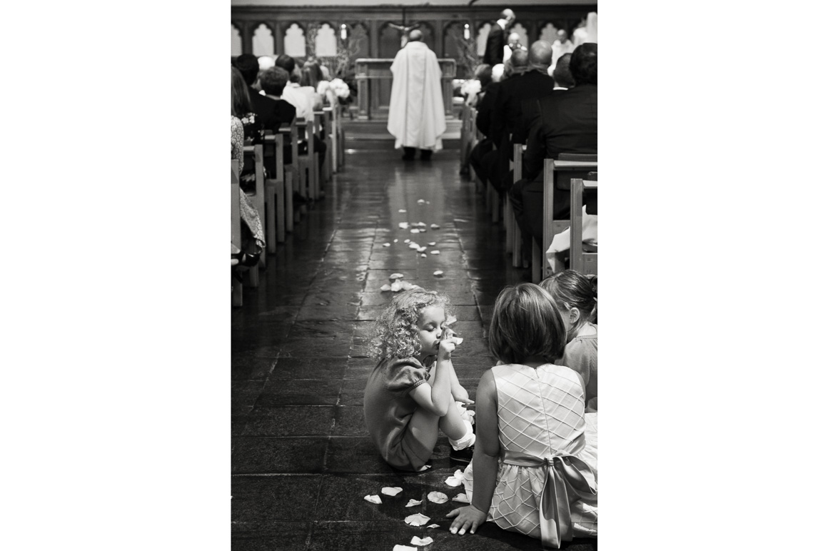 Flower Girls in Church Aisle Assorted Moments Carl Bower Wedding Photographer