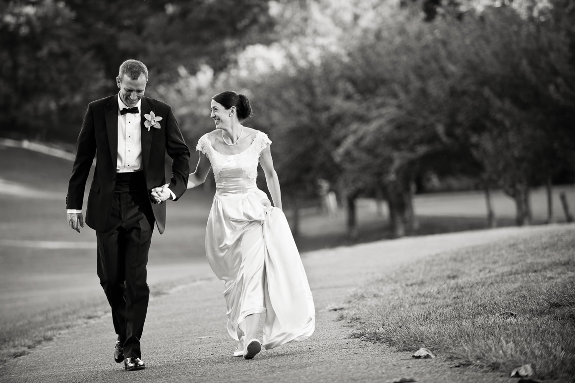 Newlyweds Walking Assorted Moments Carl Bower Wedding Photographer