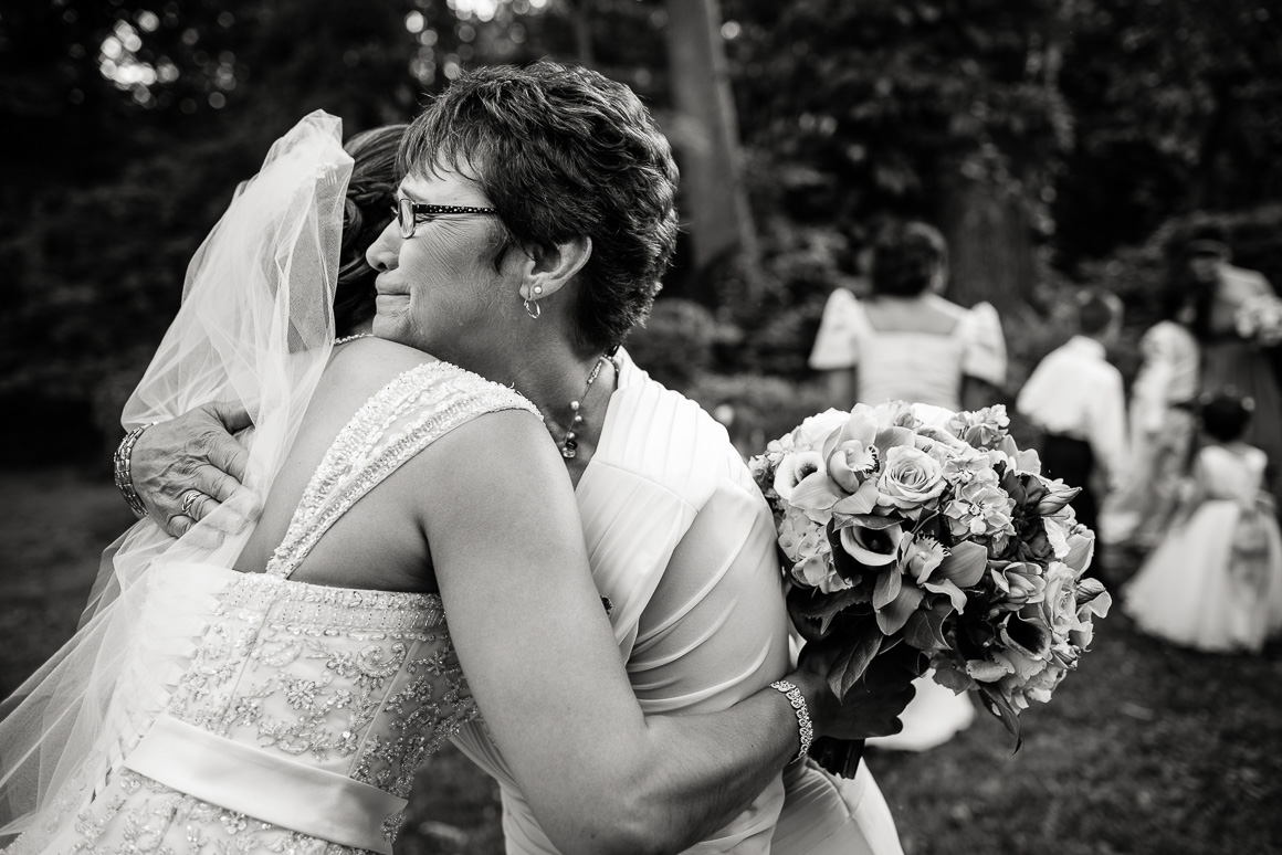 baltimore outside bride mother hug