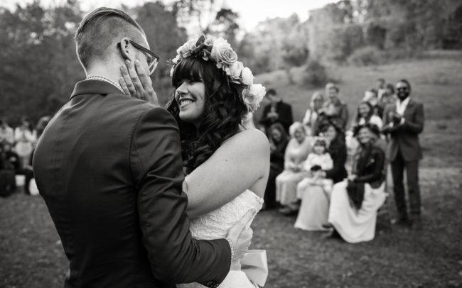 Lily and Jonathan blacksburg virginia wedding kiss outdoors
