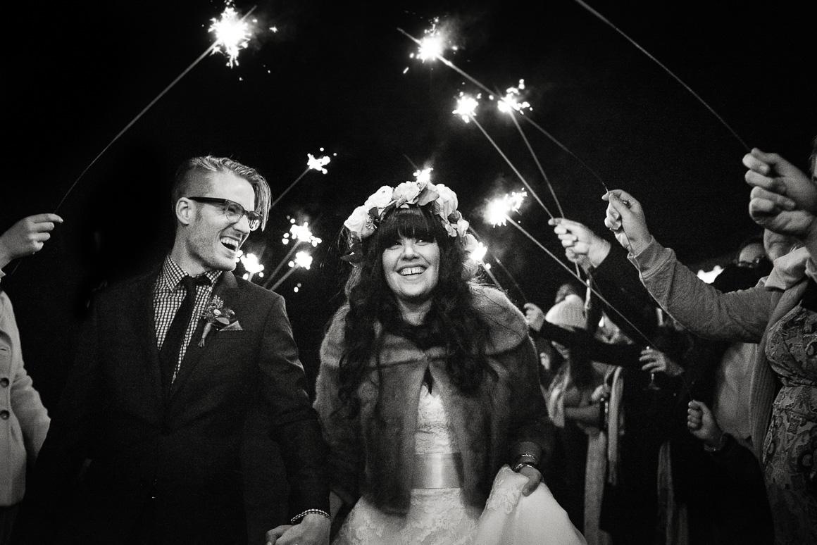 blacksburg virginia wedding newlyweds sparklers fireworks