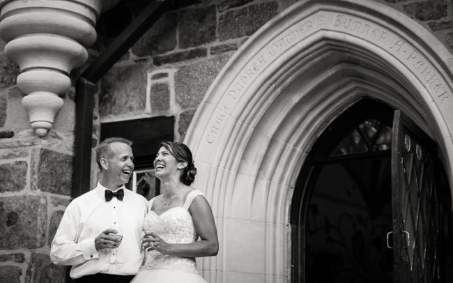 Stephanie and Darrin cloisters castle entrance laughter