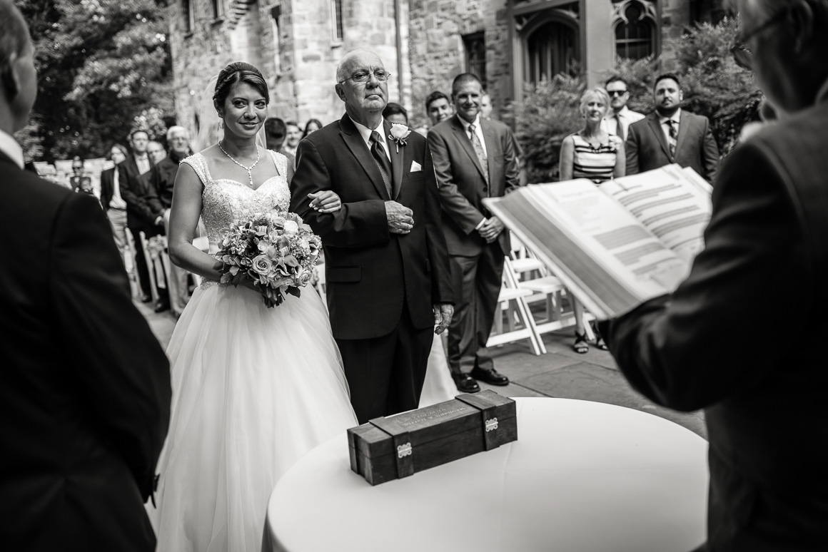 cloisters castle wedding ceremony bride father Denver wedding photojournalist