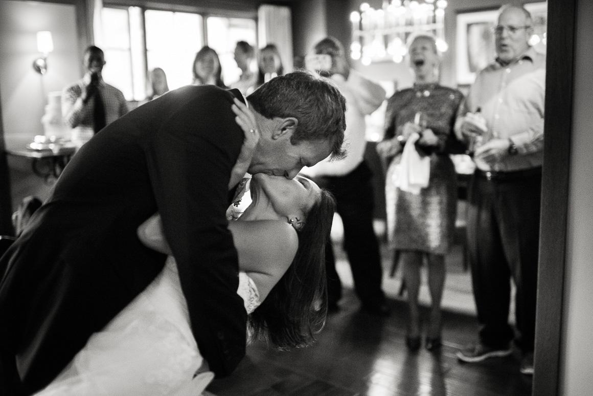vail co four seasons wedding reception kiss