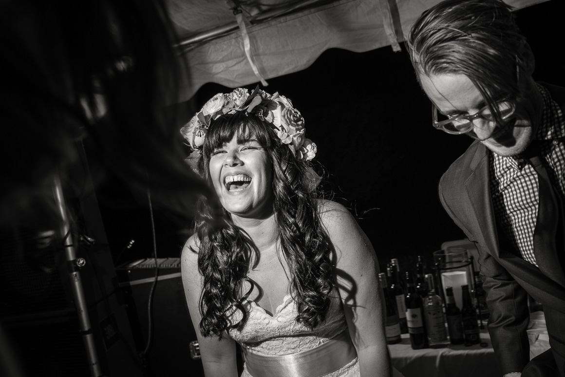wedding reception laughter bar