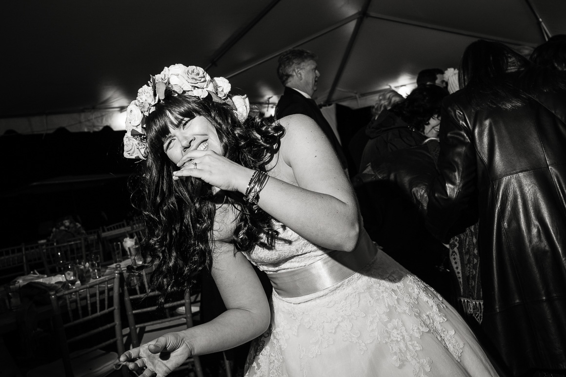wedding candid bride laugh