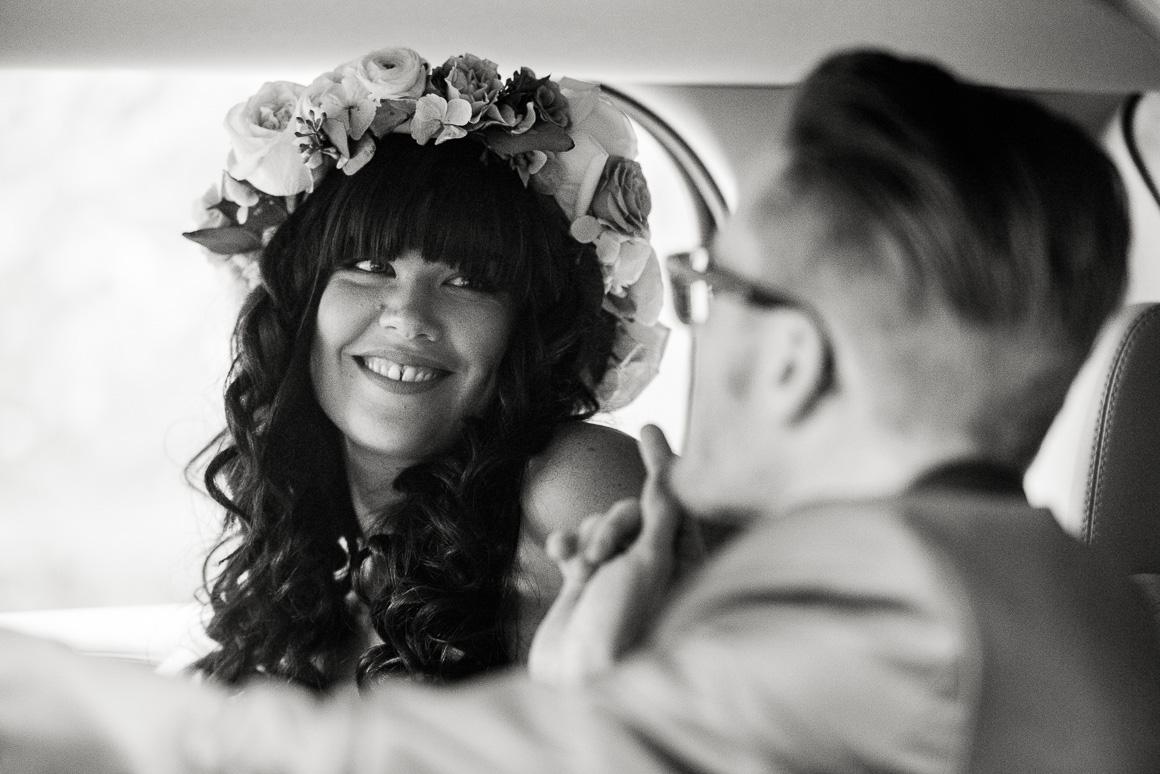wedding candid newlyweds smile