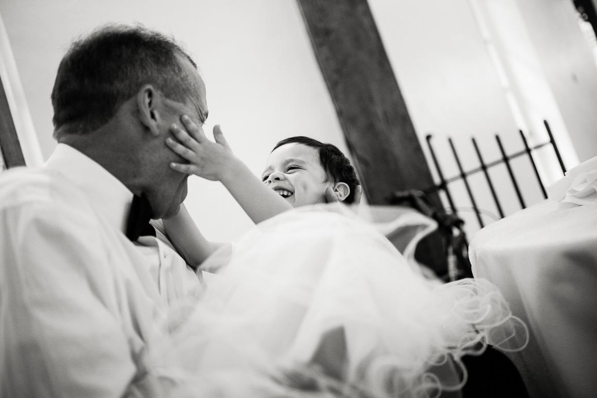 wedding ceremony child hug