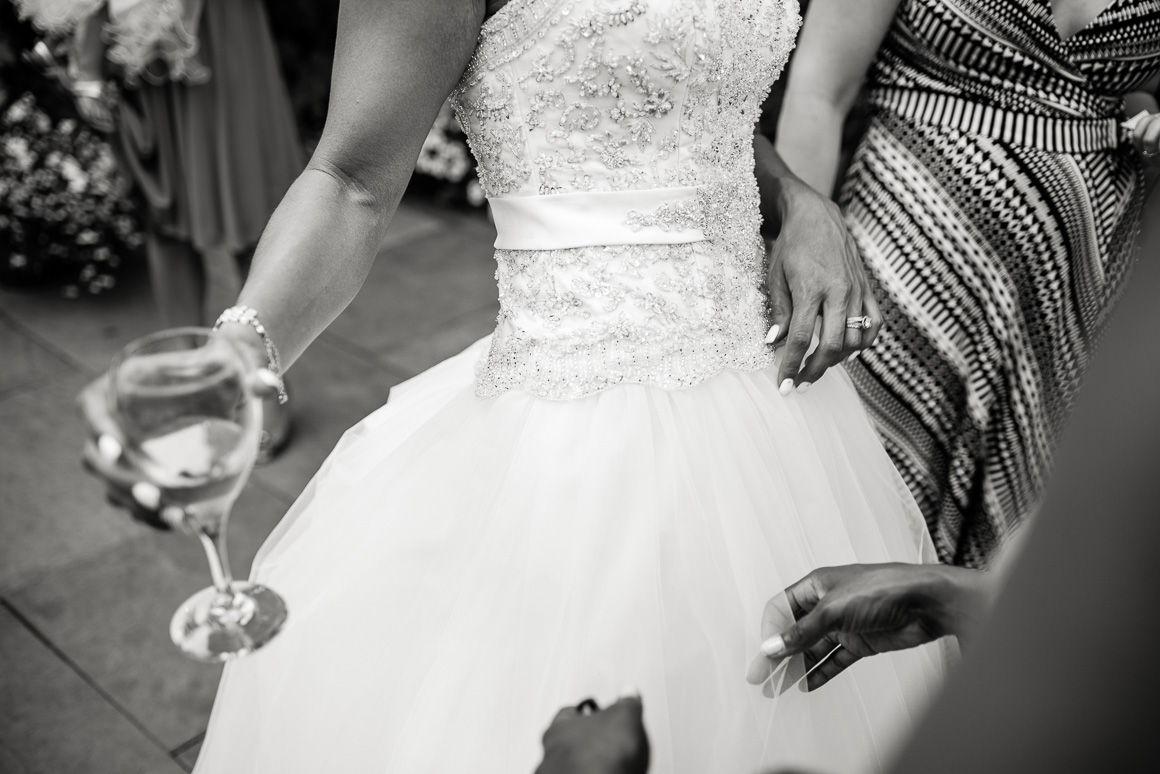 wedding gown glass champagne Denver black white wedding photography