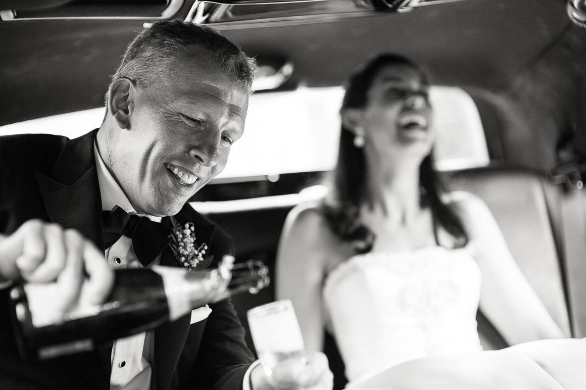 wedding newlyweds limousine champagne