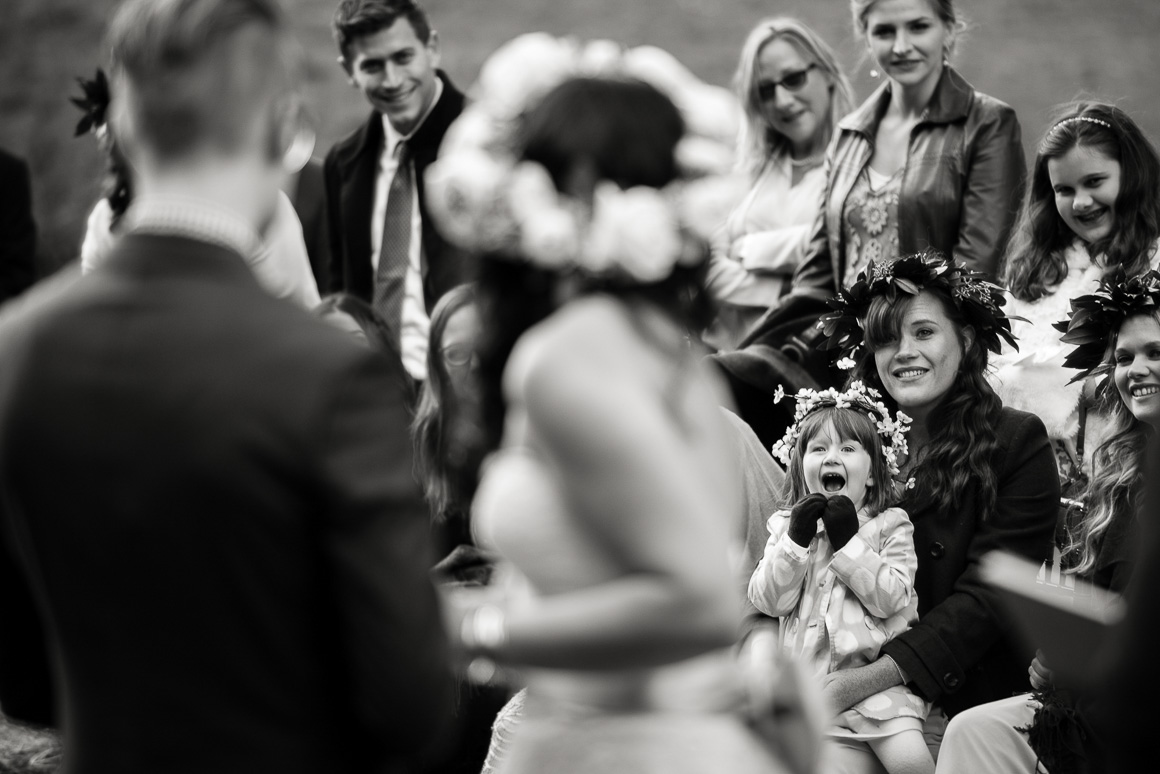wedding outside little girl audience