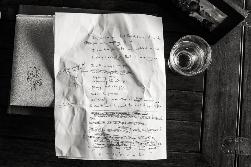 scribbled wedding vows