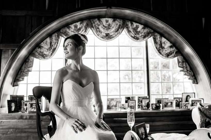 Virginia bride with champagne.