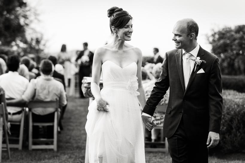 Virginia bride and groom leave ceremony