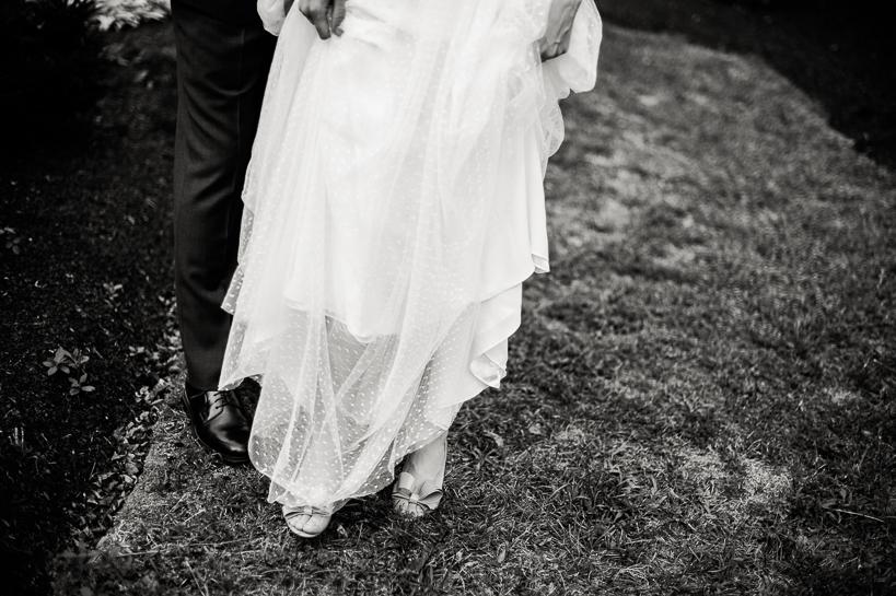 Bride's dress detail by Denver wedding photographer