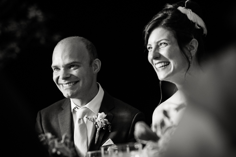 Bride and groom during toasts at Northern Virginia wedding