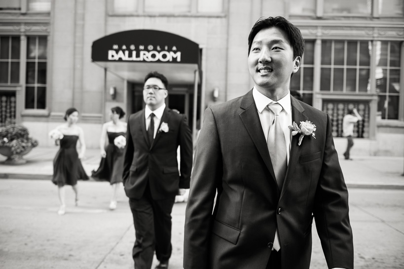 groom arrives at Denver Magnolia Hotel