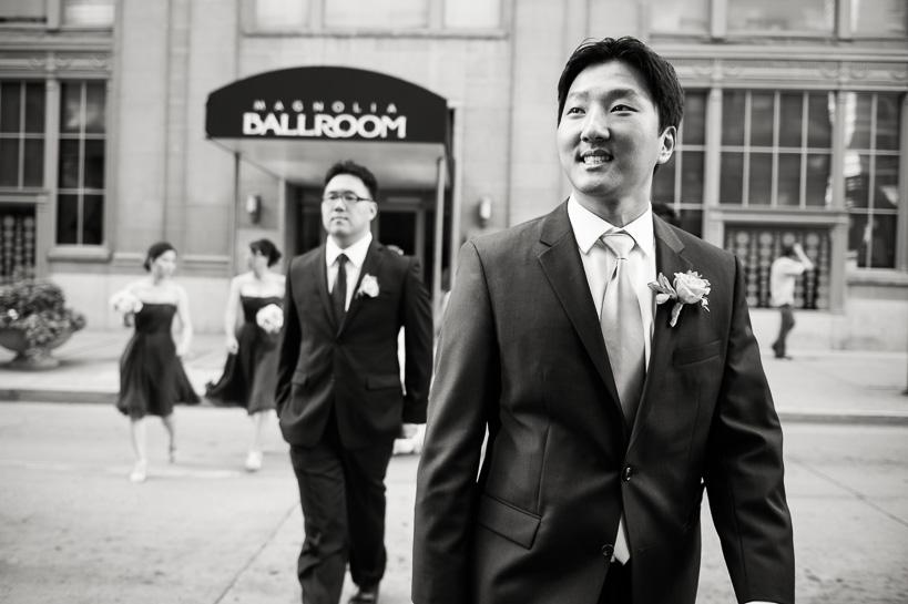 groom arrives at Denver Magnolia Hotel