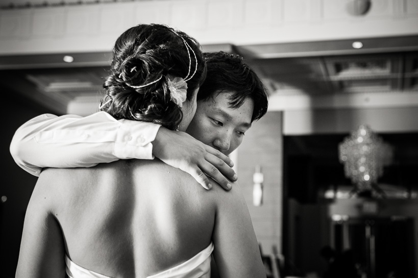 Quiet moment with bride and groom at Magnolia Hotel Denver.