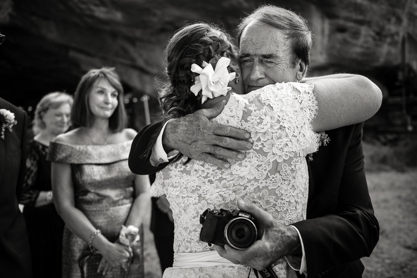 bride and father after denver wedding ceremony at willowbrook amphitheater