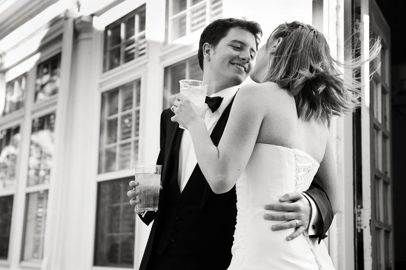 Denver wedding photojournalist captures Manor House wedding couple just after ceremony.