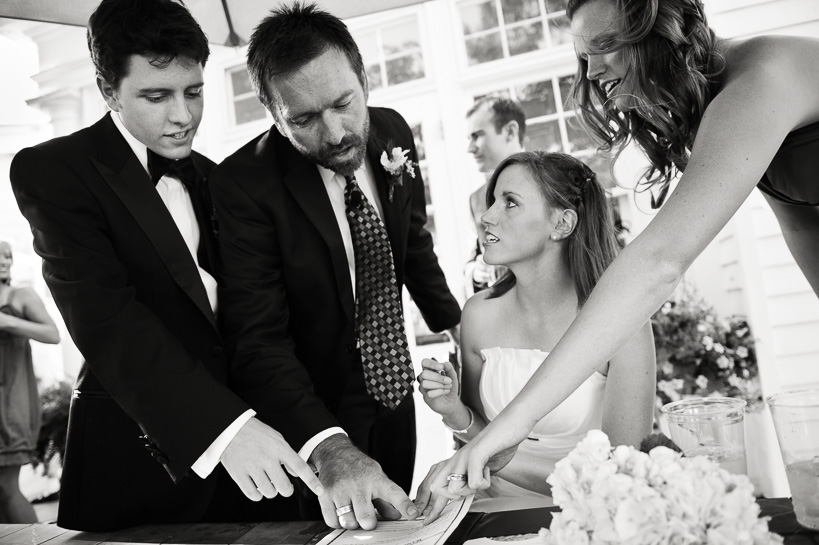 Signing marriage license at The Manor House by Denver wedding photographer.