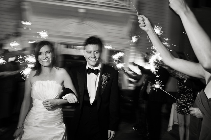 Sparkler send-off at Manor House wedding by Denver wedding photographer.