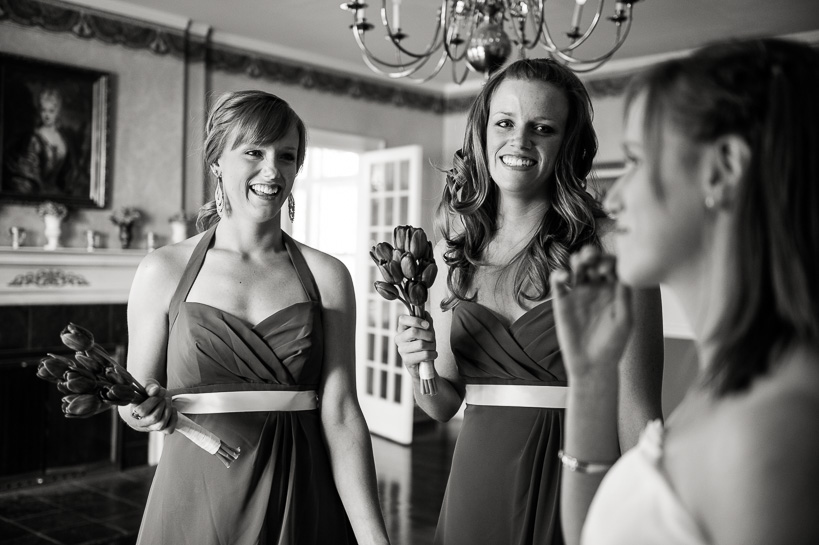bridesmaids at a manor house wedding in morrison, colorado