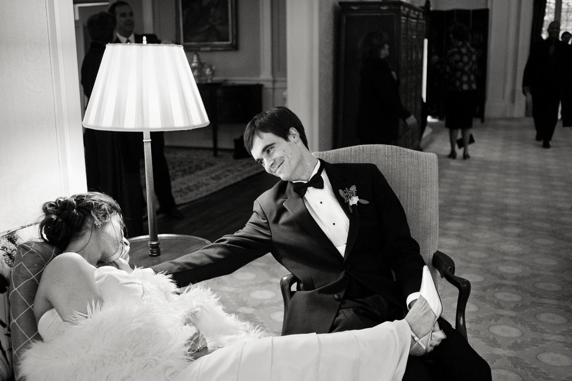 Denver wedding photojournalist captures intimate scene between bride and groom at DC wedding.