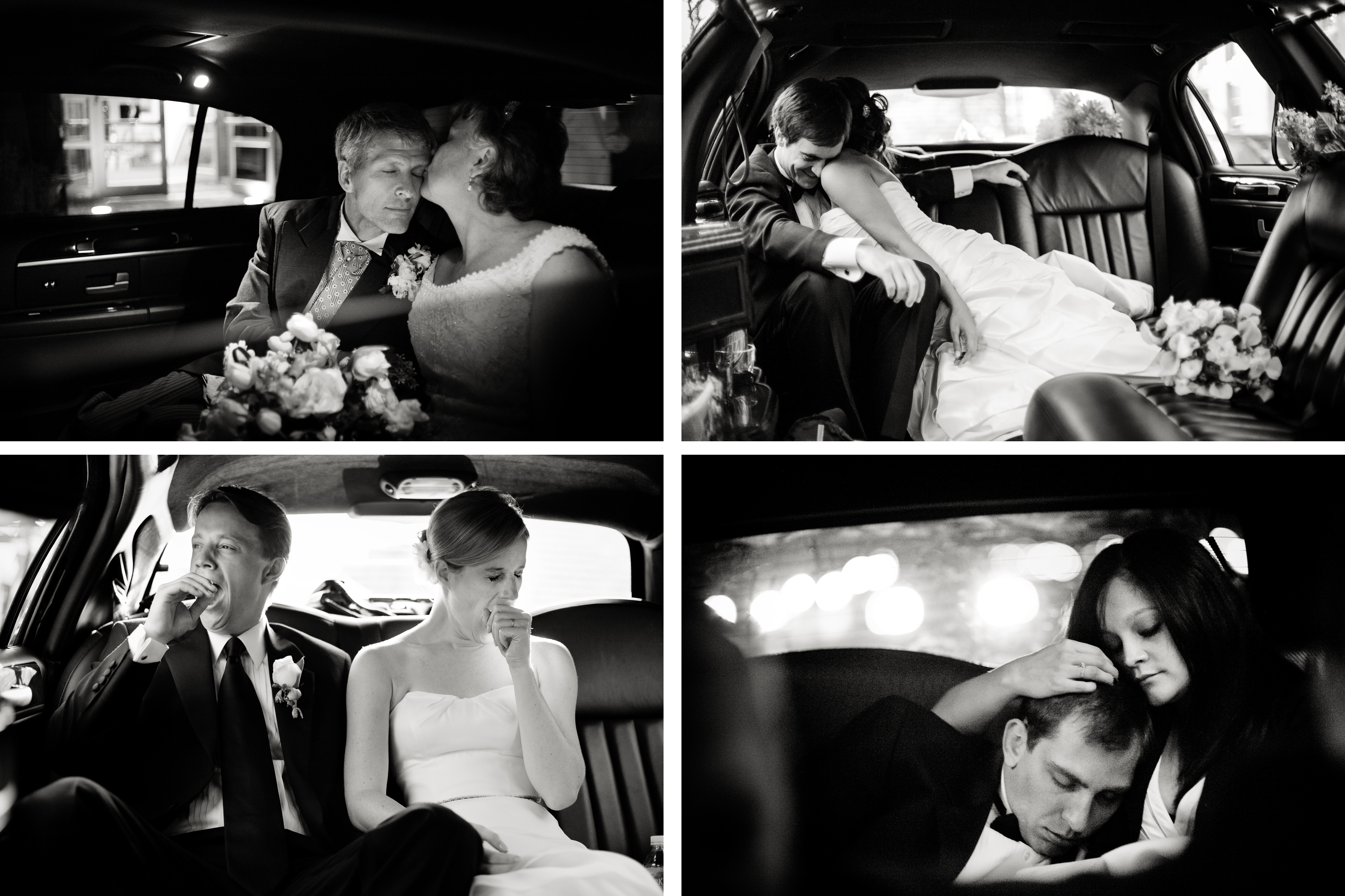 Bride and groom in limo assorted moments Denver wedding photojournalist