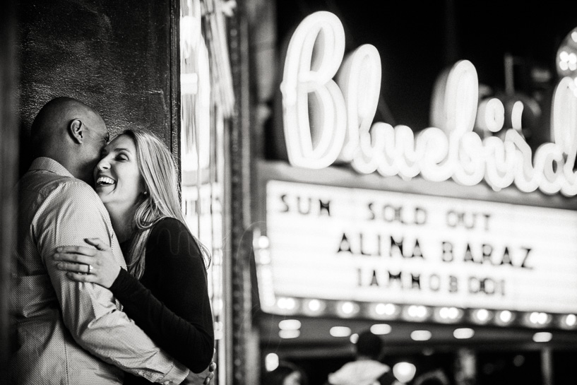 Engagement photography by Bluebird Theater on East Colfax by Denver wedding photographer
