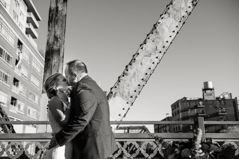 Kiss during Coohills restaurant wedding ceremony.