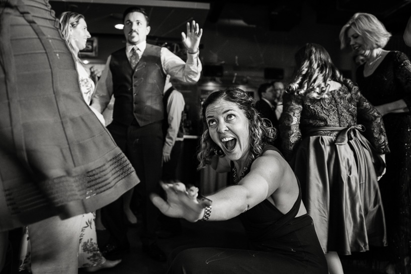 Denver wedding photographer captures dancing at Coohills wedding reception.