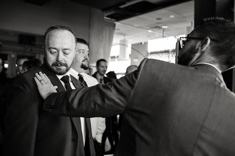 Groom before Denver wedding ceremony.