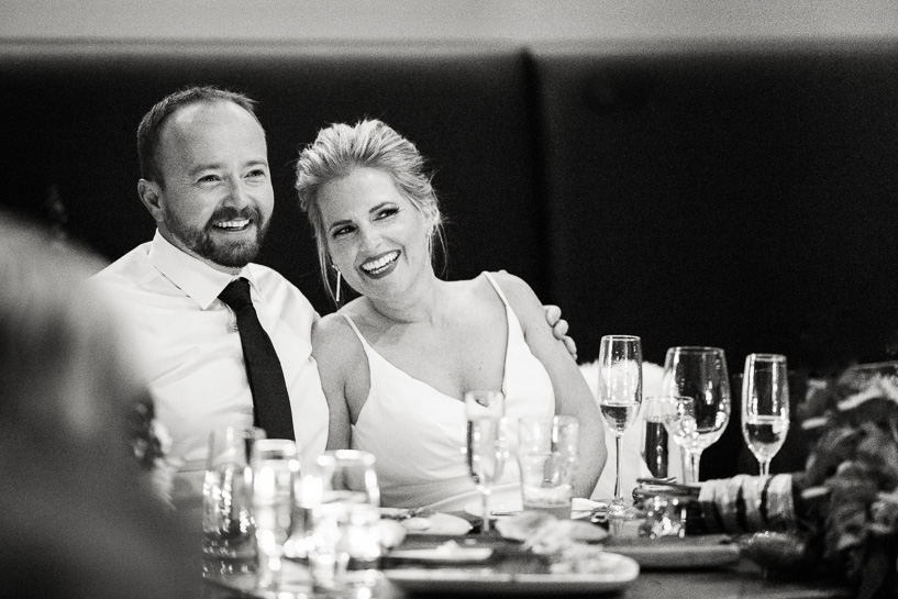 Denver bride and groom during toasts at Coohills