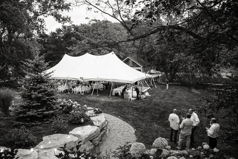 Tent at backyard wedding outside Detroit