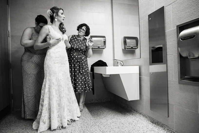 Bride prepares for wedding at History Center Colorado.