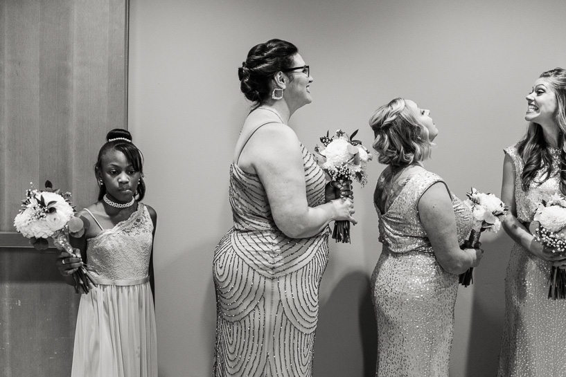 Bridesmaids and flower girl at History Center Colorado wedding.