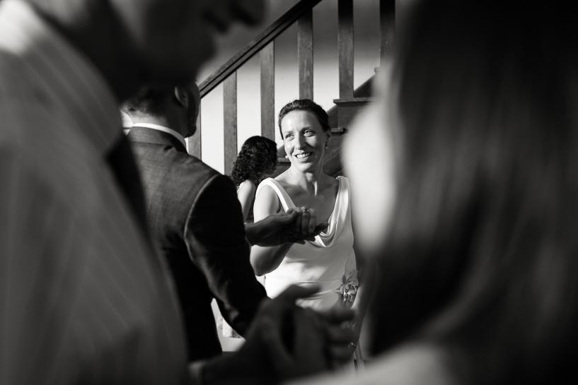 Bride dancing at Chautauqua Community Hall wedding reception by Denver documentary wedding photographer.