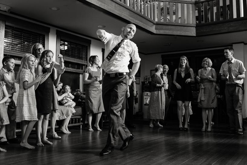 Groom dances at Boulder wedding venue.