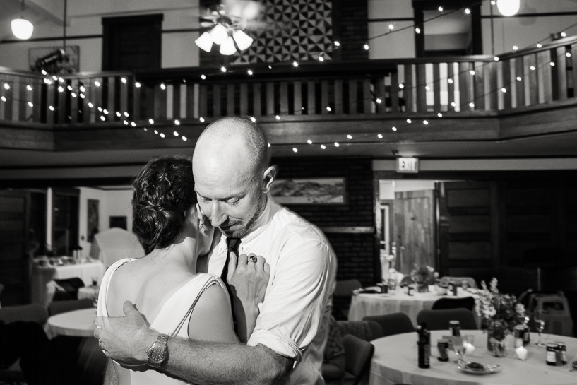 Bride and groom alone on the dance floor during Boulder wedding reception.