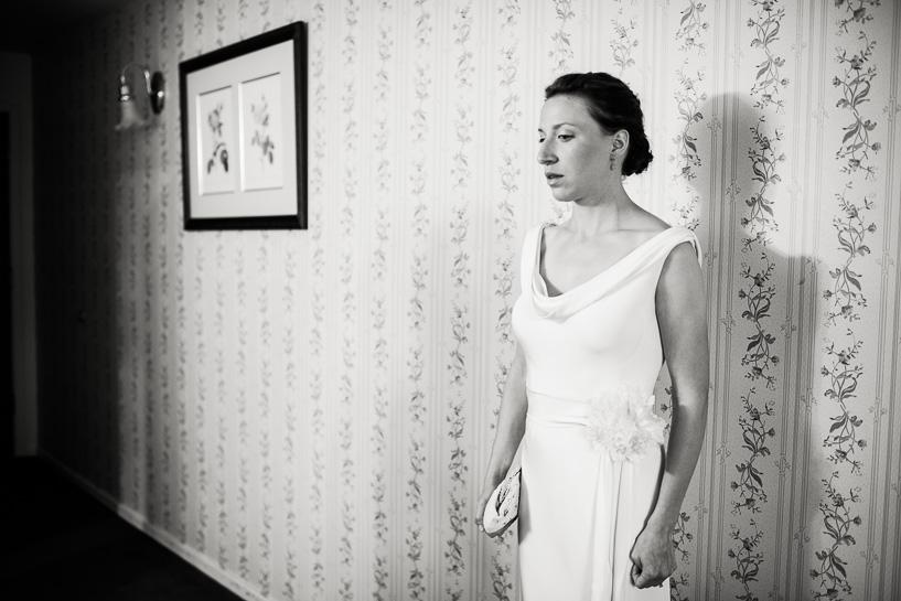 Nervous bride before her wedding at the Boulderado Hotel.