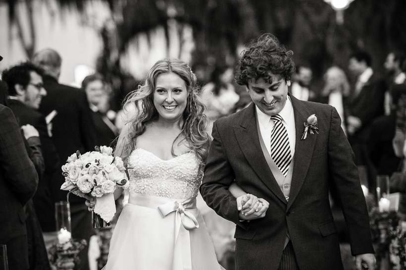 Leaving wedding ceremony at the Sculpture Garden of the New Orleans Museum of Art