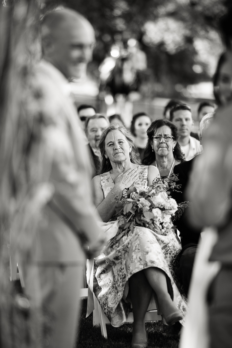Mother of the bride during an outdoor Colorado wedding in Longmont.