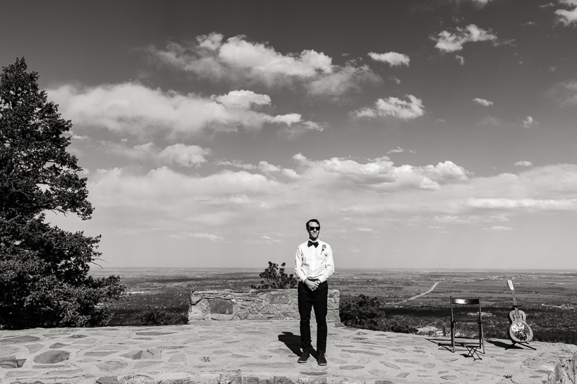 Groom waiting for wedding ceremony at Sunrise Amphitheater