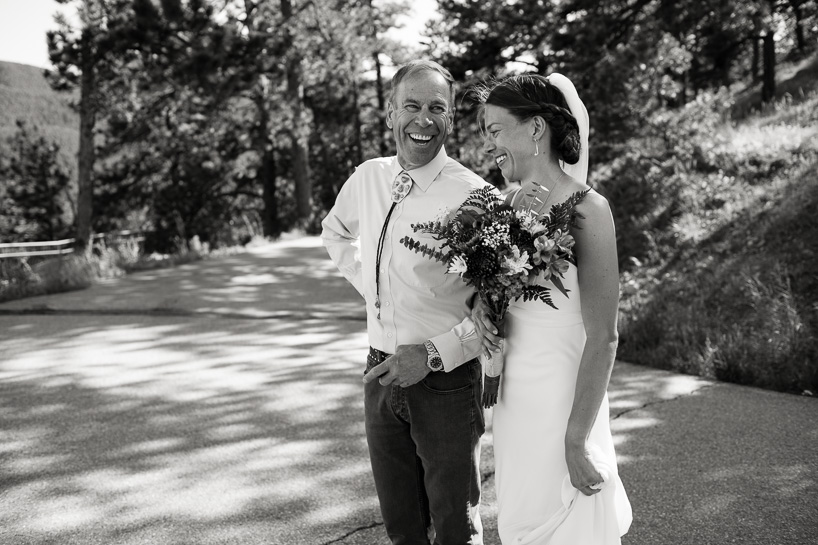 Bride and her father at casual Colorado mountain wedding