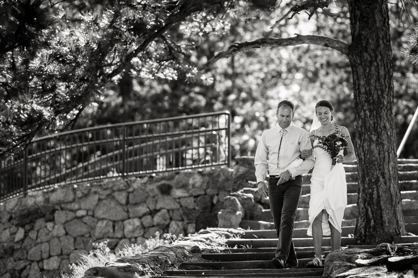 Bride and father entering wedding at Boulder's Sunrise Amphitheater