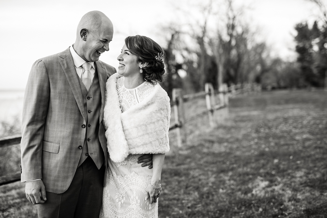 Black and white photo of wedding couple at Great Oak Manor on Maryland's Eastern Shore